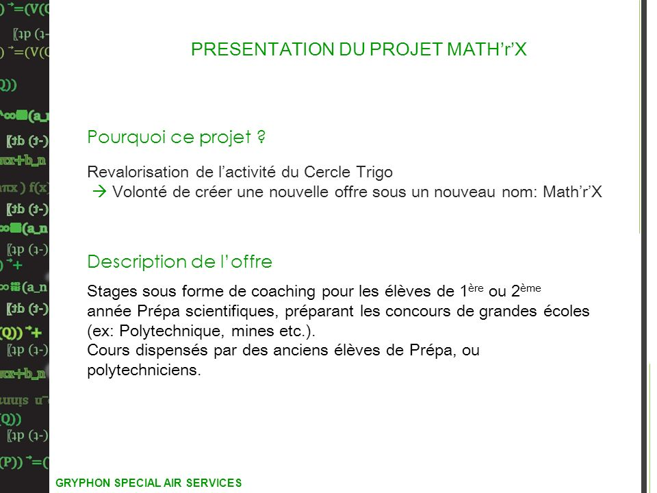 PRESENTATION DU PROJET MATH'r'X