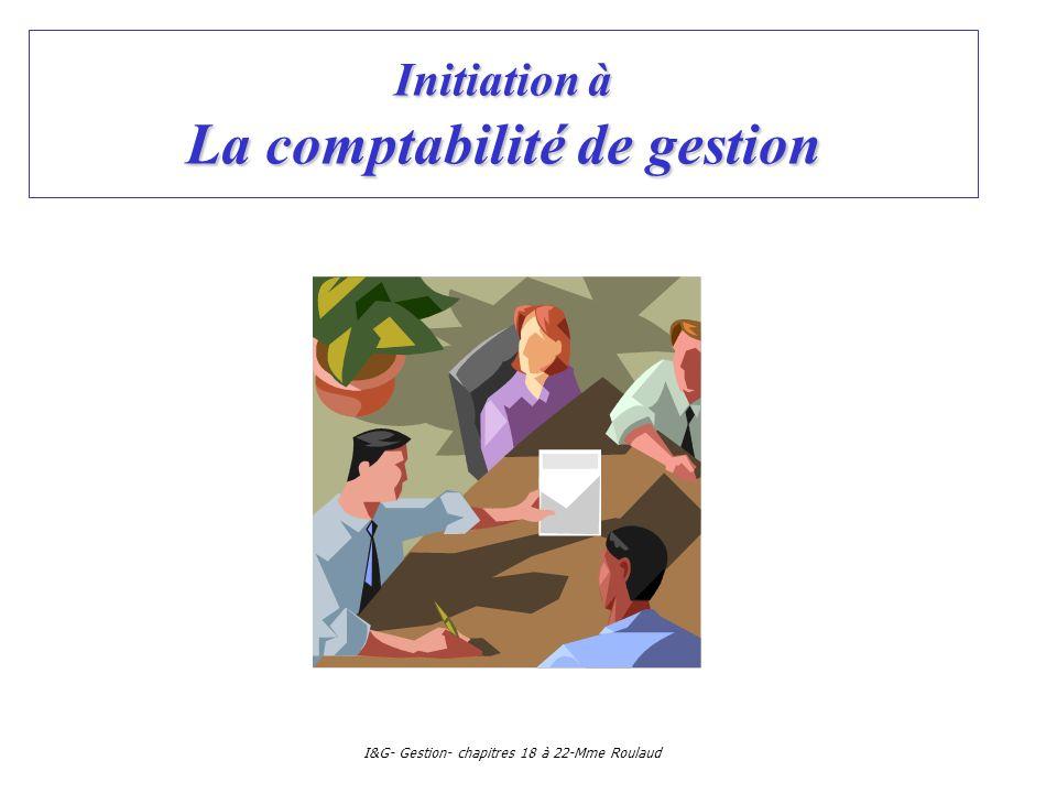 Initiation à La comptabilité de gestion