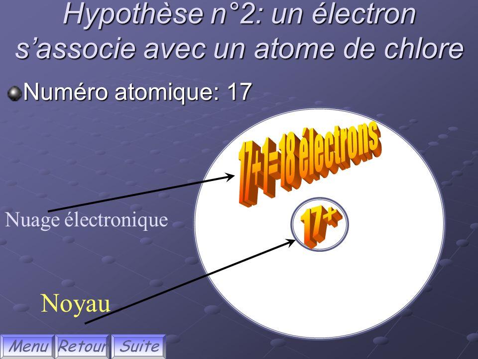 Hypothèse n°2: un électron s'associe avec un atome de chlore