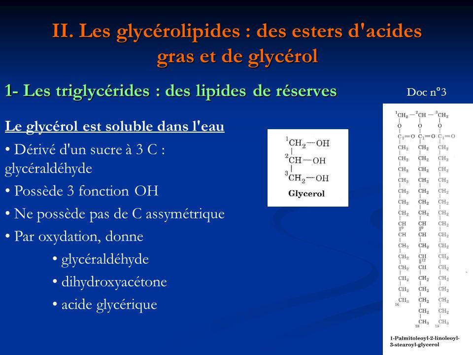 II. Les glycérolipides : des esters d acides gras et de glycérol