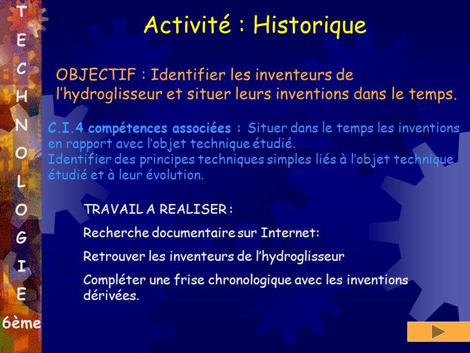 Activité : Historique T E C H N