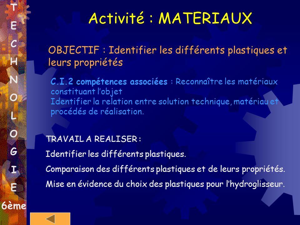 Activité : MATERIAUX T E C H N O