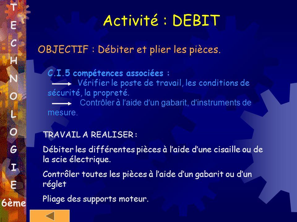 Activité : DEBIT T E C H N O OBJECTIF : Débiter et plier les pièces. L