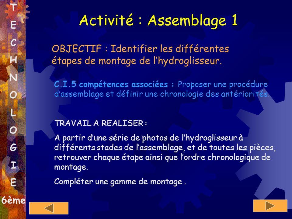 Activité : Assemblage 1 T E C H N O