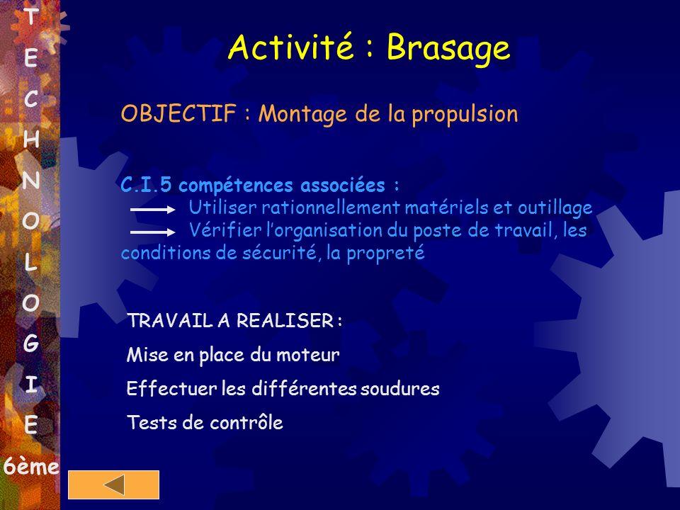 Activité : Brasage T E C H N O OBJECTIF : Montage de la propulsion L G