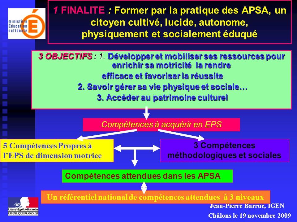 1 FINALITE : Former par la pratique des APSA, un citoyen cultivé, lucide, autonome, physiquement et socialement éduqué
