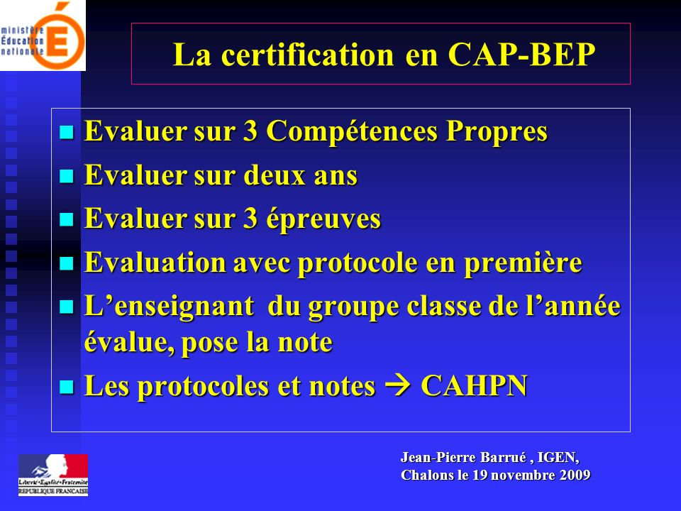 La certification en CAP-BEP