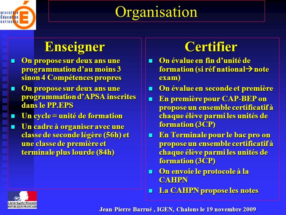 Organisation Enseigner Certifier