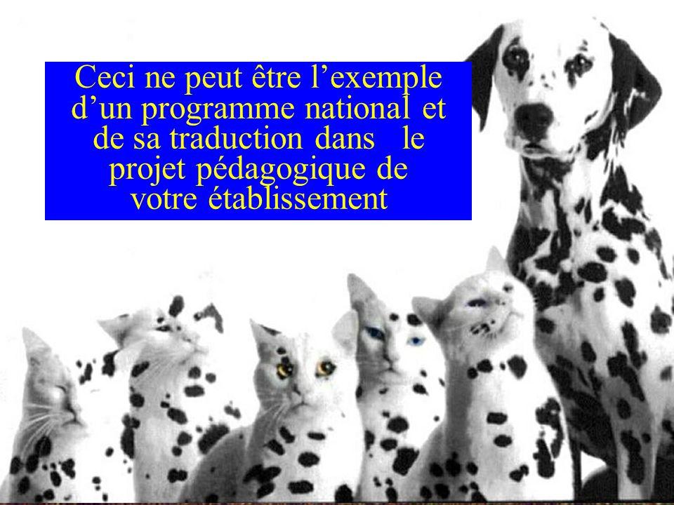 Ceci ne peut être l'exemple d'un programme national et de sa traduction dans le projet pédagogique de votre établissement