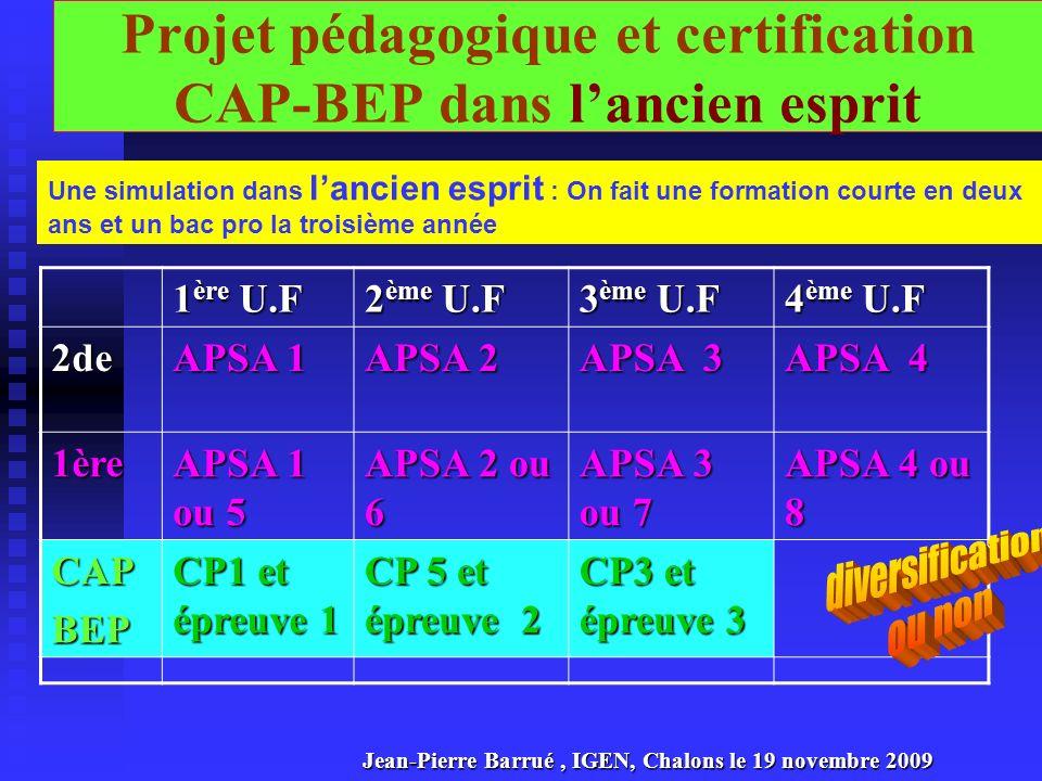 Projet pédagogique et certification CAP-BEP dans l'ancien esprit