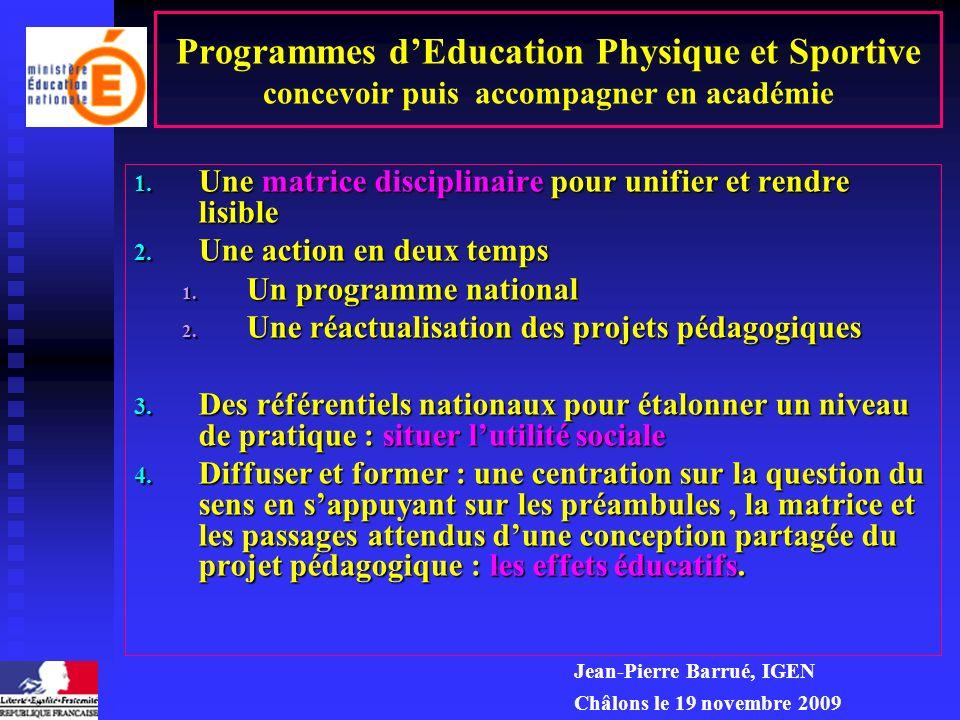 Programmes d'Education Physique et Sportive concevoir puis accompagner en académie