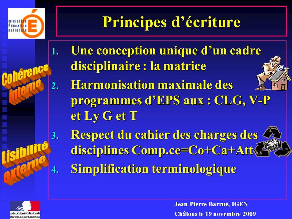 Principes d'écriture Une conception unique d'un cadre disciplinaire : la matrice.