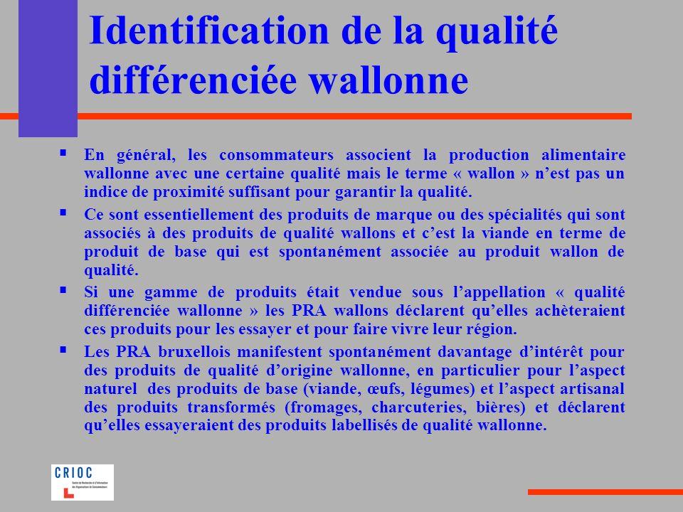 Identification de la qualité différenciée wallonne