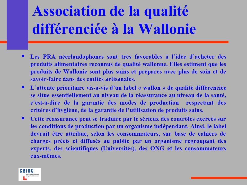 Association de la qualité différenciée à la Wallonie