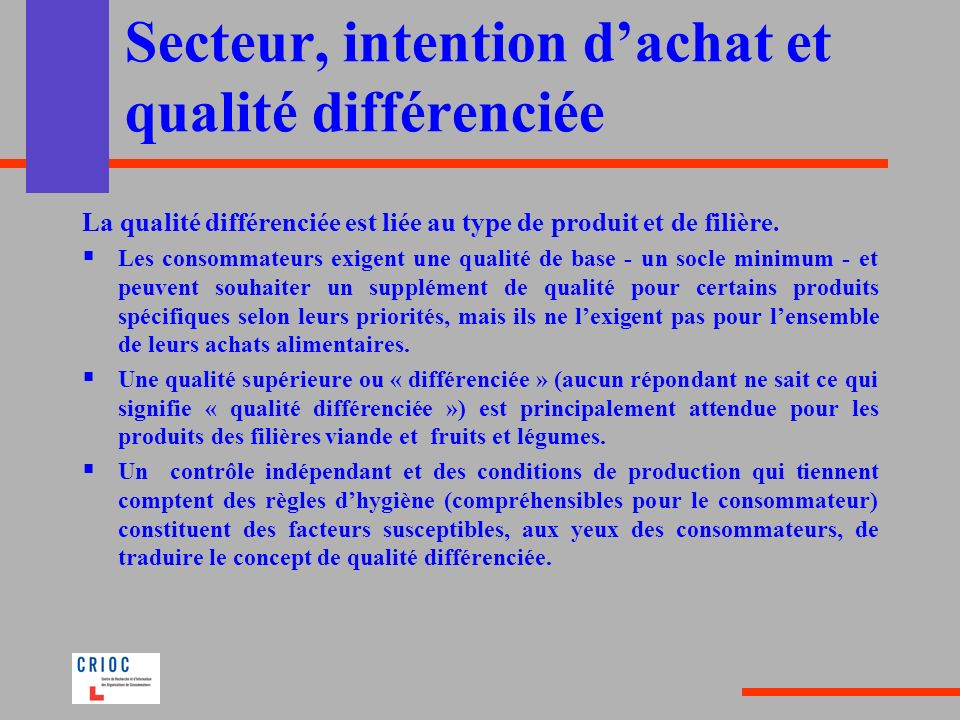 Secteur, intention d'achat et qualité différenciée