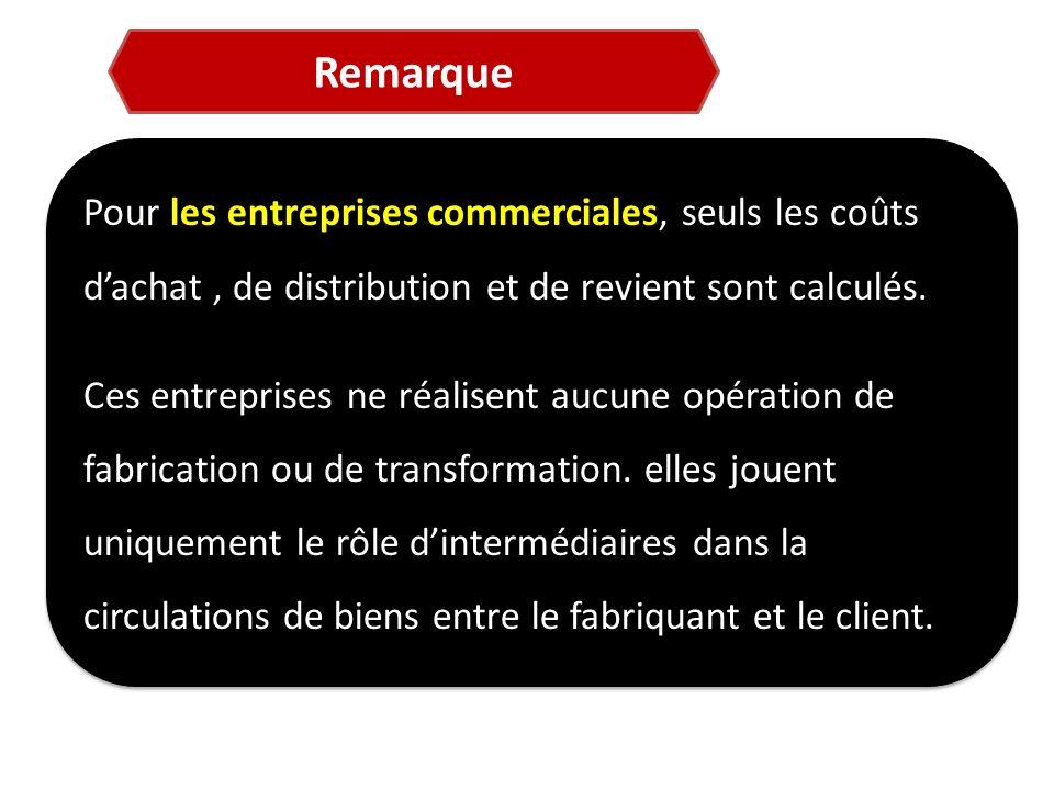 Remarque Pour les entreprises commerciales, seuls les coûts d'achat , de distribution et de revient sont calculés.