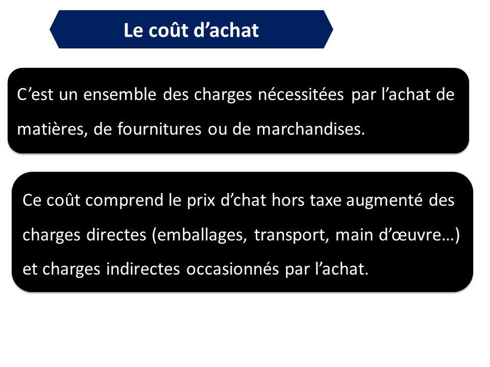 Le coût d'achat C'est un ensemble des charges nécessitées par l'achat de matières, de fournitures ou de marchandises.