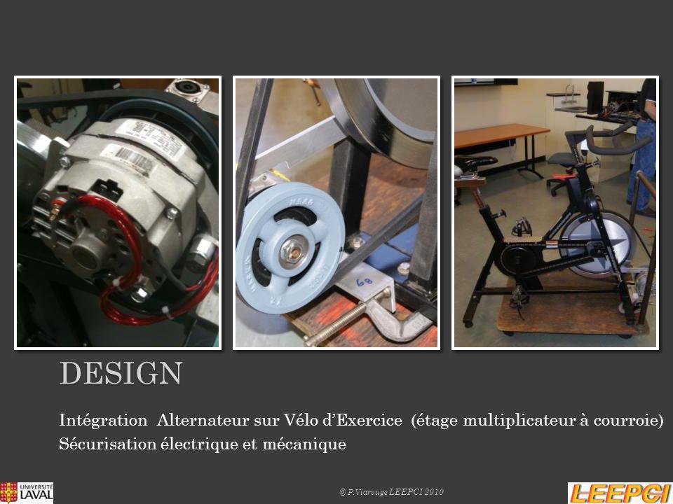DEsign Intégration Alternateur sur Vélo d'Exercice (étage multiplicateur à courroie) Sécurisation électrique et mécanique.