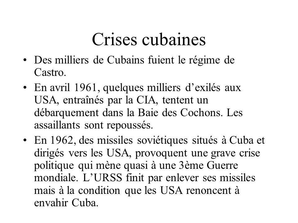 Crises cubaines Des milliers de Cubains fuient le régime de Castro.