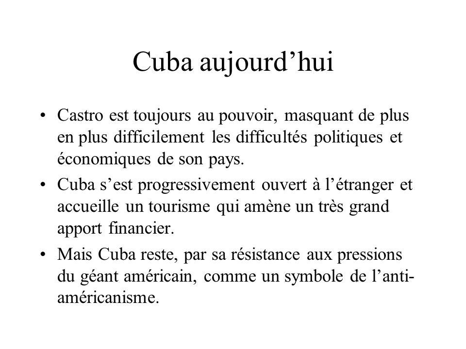 Cuba aujourd'hui Castro est toujours au pouvoir, masquant de plus en plus difficilement les difficultés politiques et économiques de son pays.
