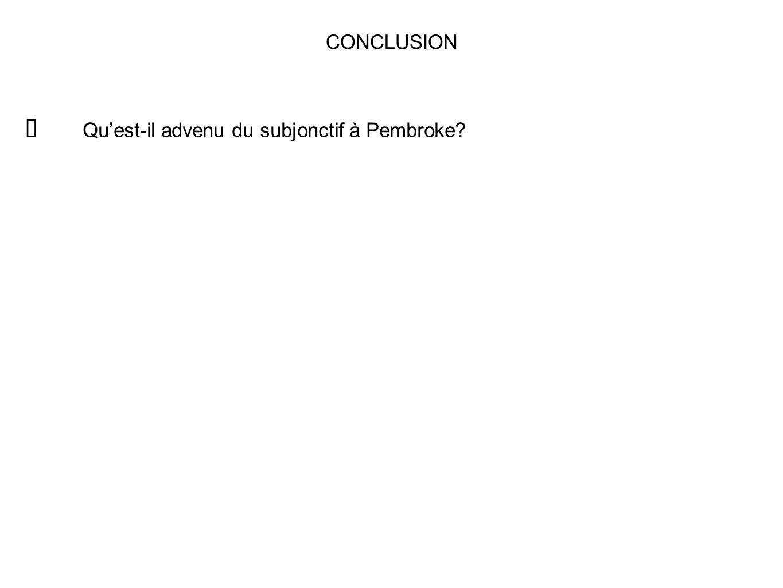 CONCLUSION Qu'est-il advenu du subjonctif à Pembroke