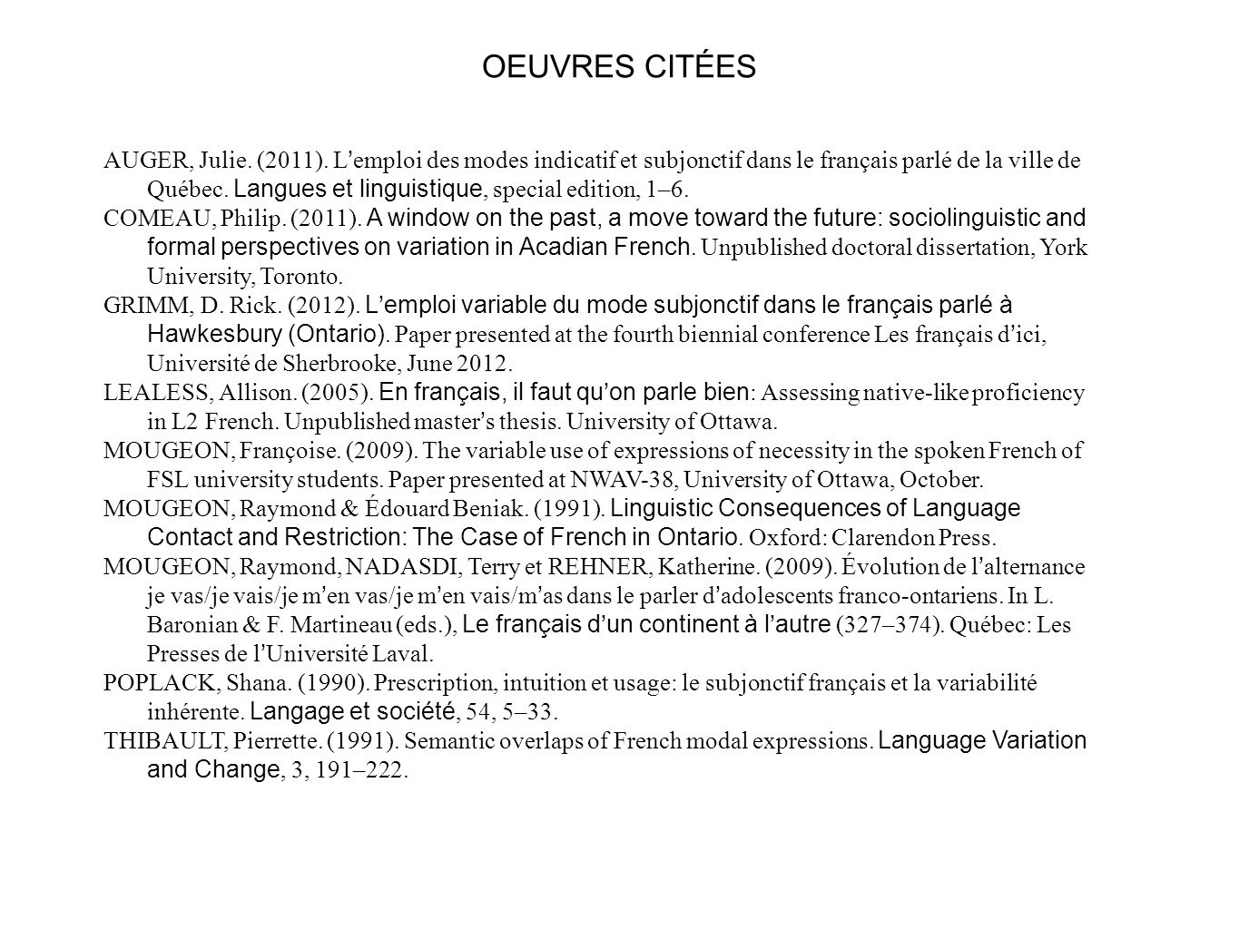 OEUVRES CITÉES