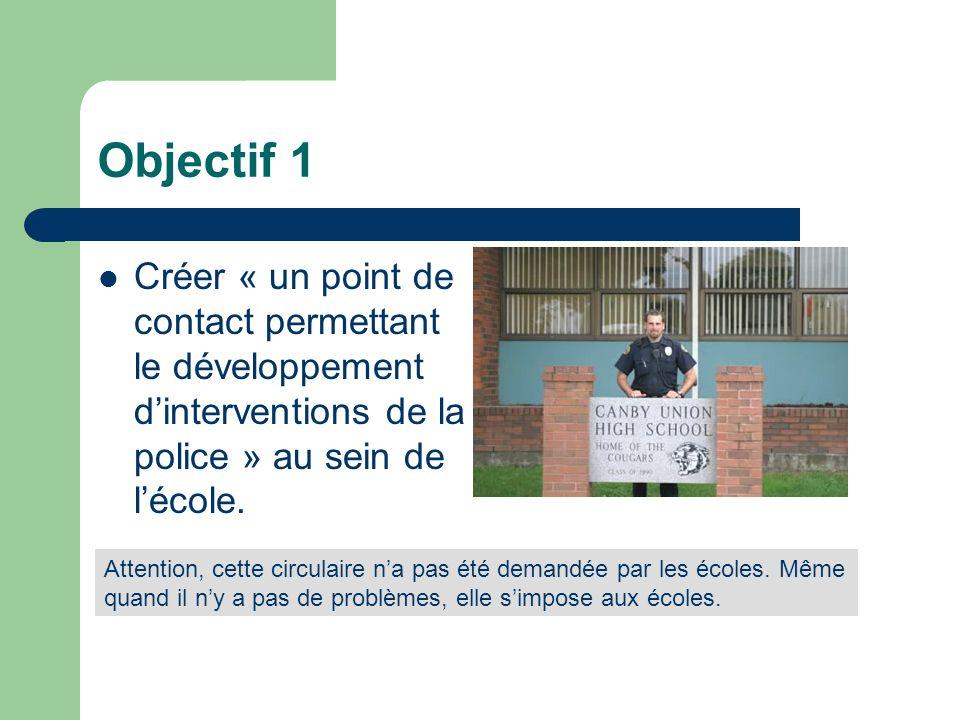 Objectif 1 Créer « un point de contact permettant le développement d'interventions de la police » au sein de l'école.