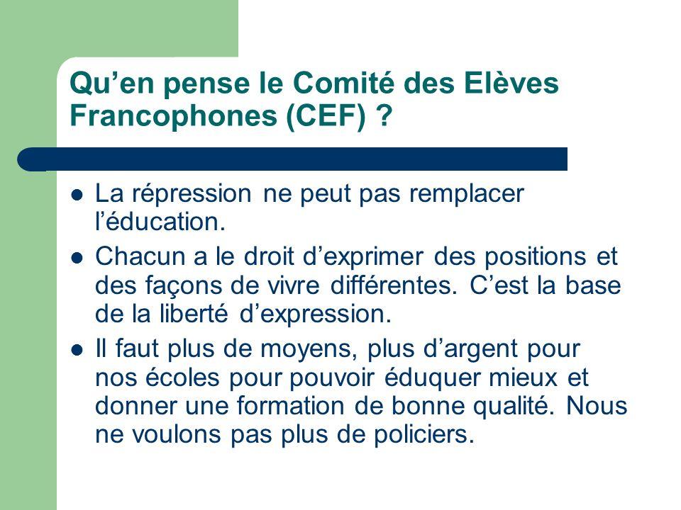 Qu'en pense le Comité des Elèves Francophones (CEF)