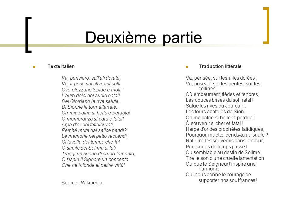 Deuxième partie Texte italien Va, pensiero, sull ali dorate;