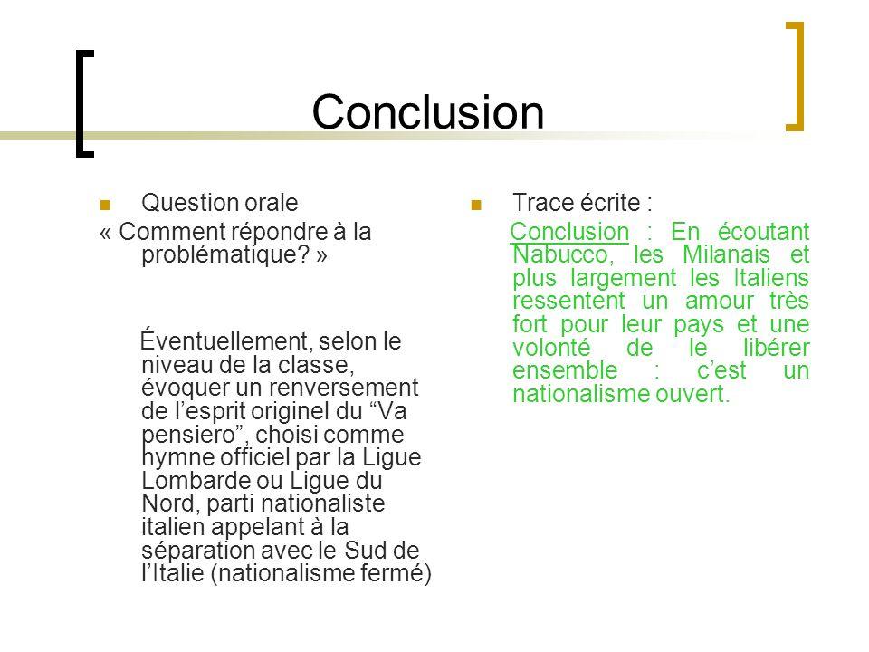 Conclusion Question orale « Comment répondre à la problématique »