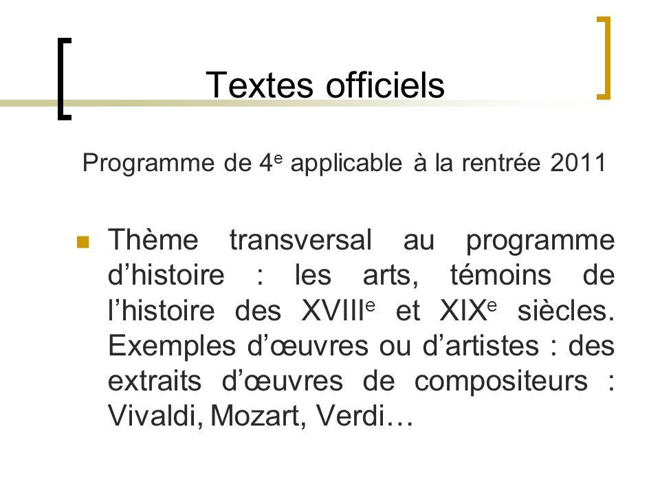 Programme de 4e applicable à la rentrée 2011