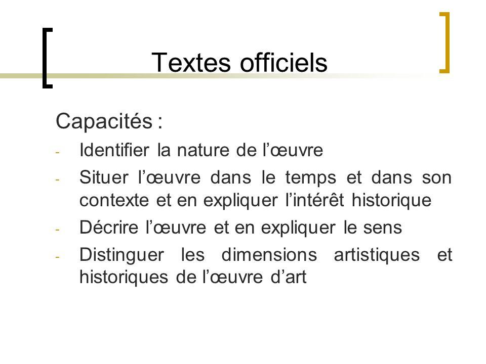 Textes officiels Capacités : Identifier la nature de l'œuvre