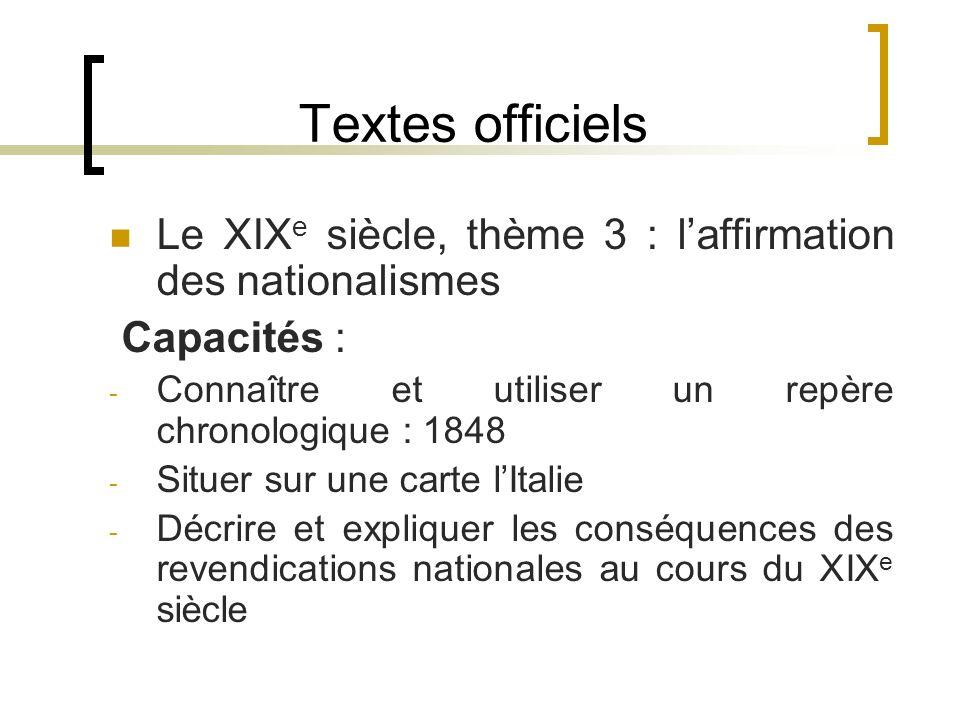 Textes officiels Le XIXe siècle, thème 3 : l'affirmation des nationalismes. Capacités : Connaître et utiliser un repère chronologique : 1848.