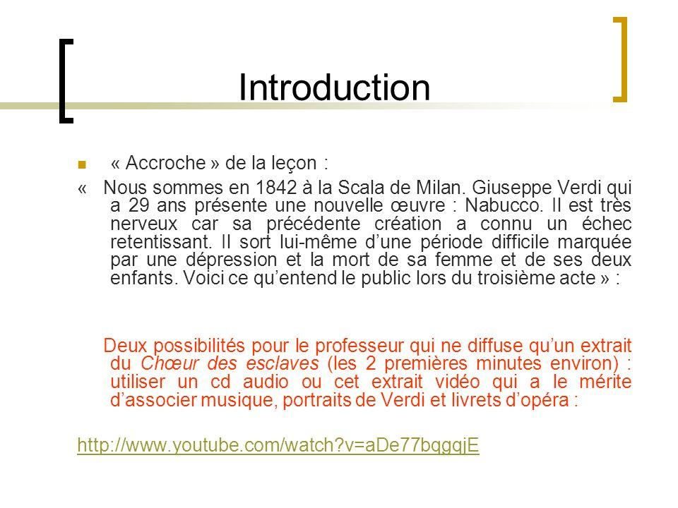 Introduction « Accroche » de la leçon :