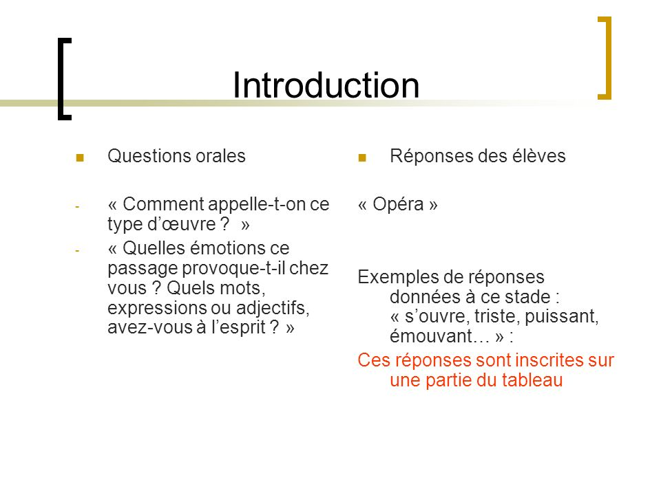 Introduction Questions orales