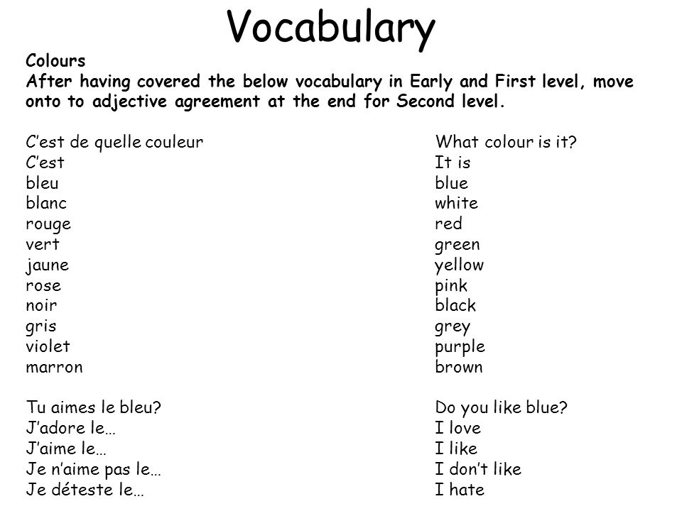 Vocabulary Colours.