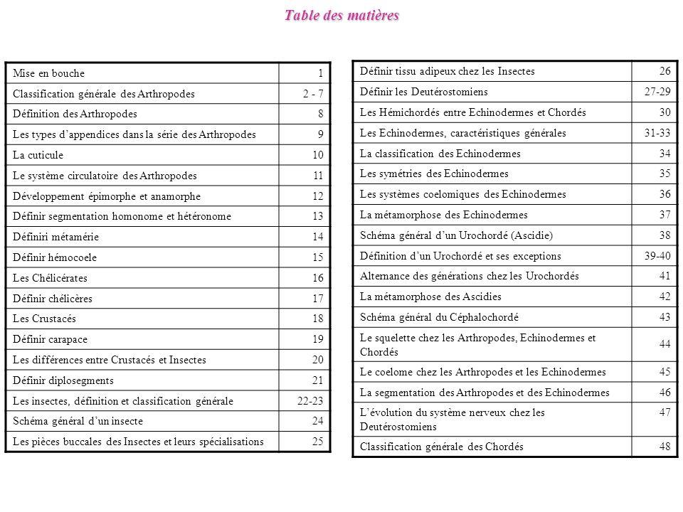 Table des matières Mise en bouche 1