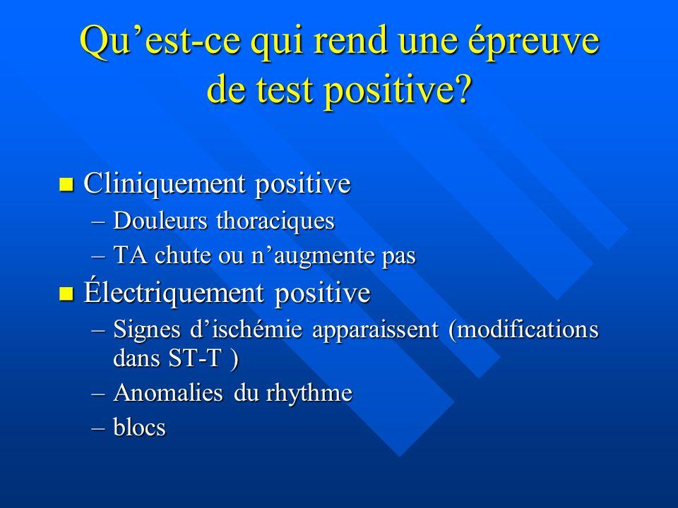 Qu'est-ce qui rend une épreuve de test positive