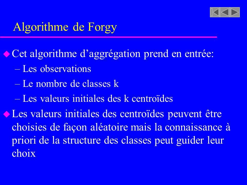 Algorithme de Forgy Cet algorithme d'aggrégation prend en entrée: