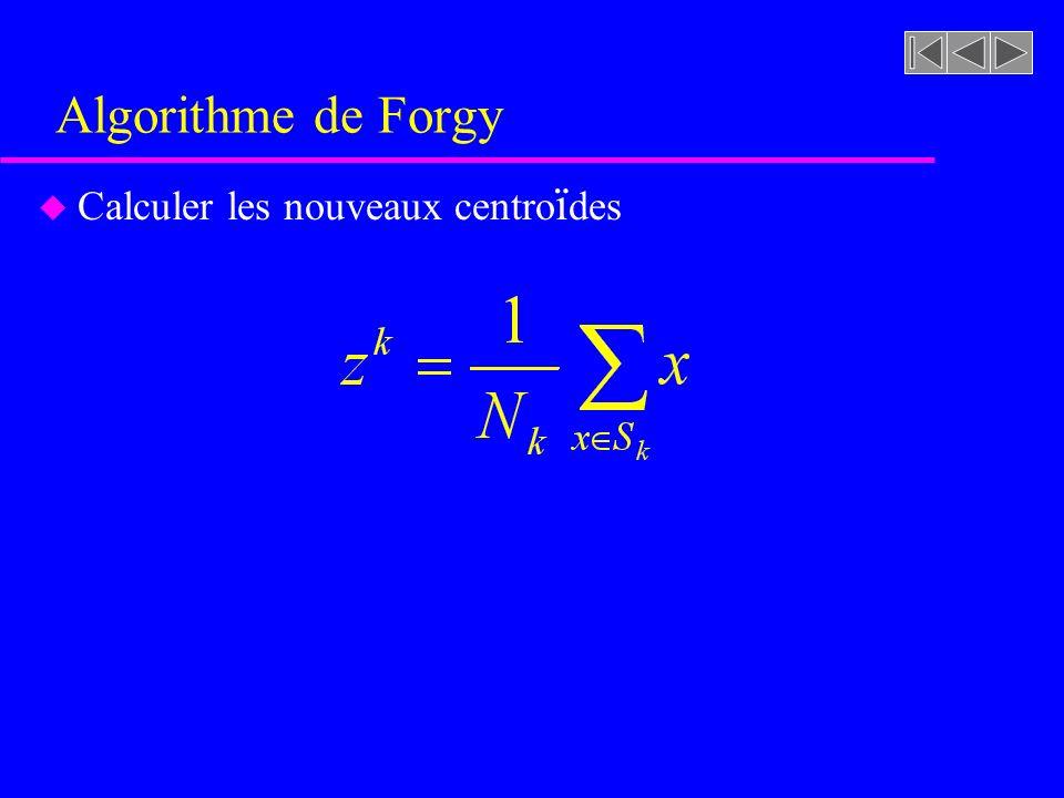 Algorithme de Forgy Calculer les nouveaux centroïdes