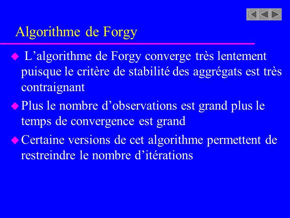 Algorithme de Forgy L'algorithme de Forgy converge très lentement puisque le critère de stabilité des aggrégats est très contraignant.