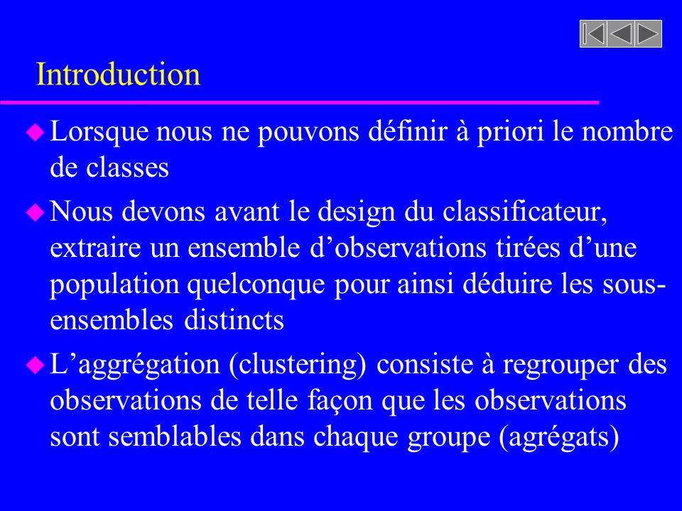 Introduction Lorsque nous ne pouvons définir à priori le nombre de classes.