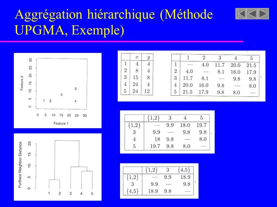 Aggrégation hiérarchique (Méthode UPGMA, Exemple)
