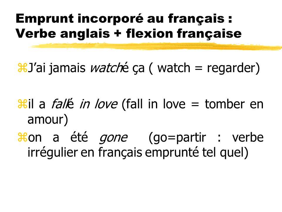 Emprunt incorporé au français : Verbe anglais + flexion française