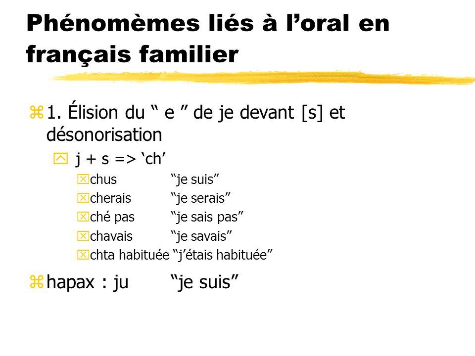 Phénomèmes liés à l'oral en français familier