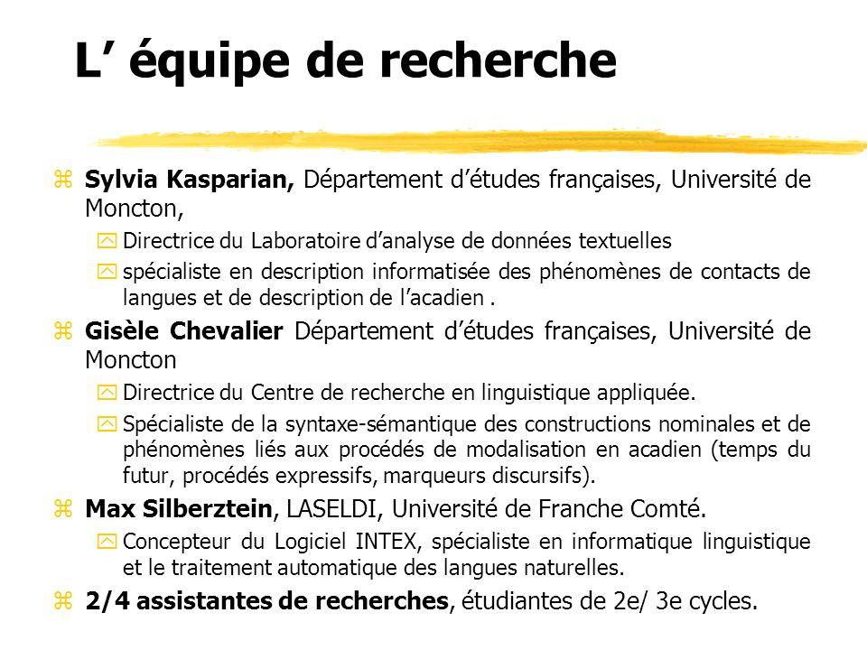 L' équipe de recherche Sylvia Kasparian, Département d'études françaises, Université de Moncton,