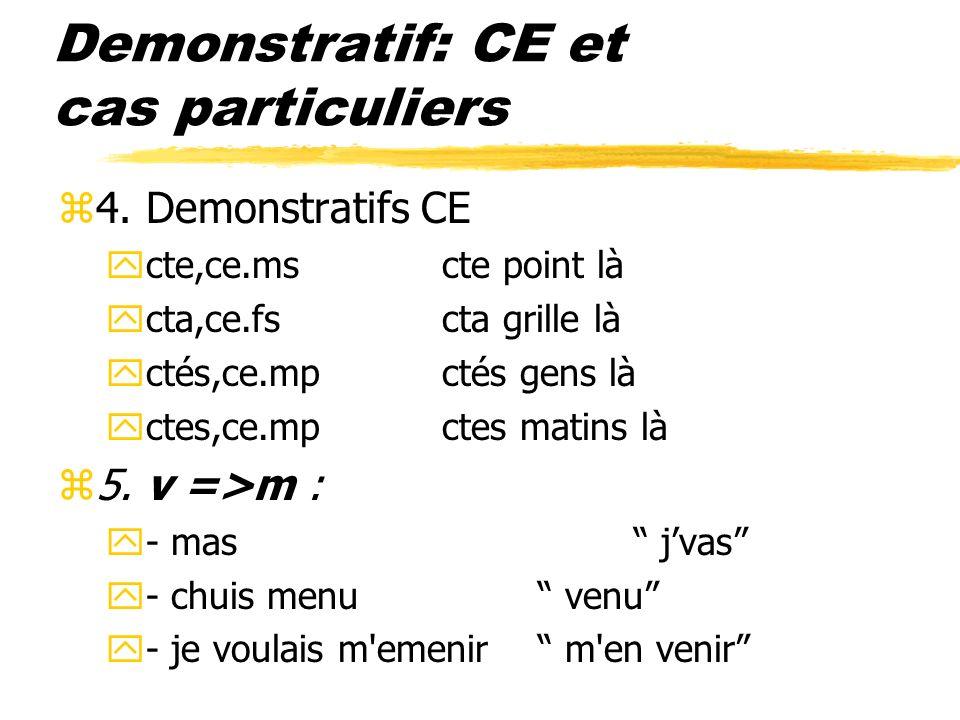 Demonstratif: CE et cas particuliers