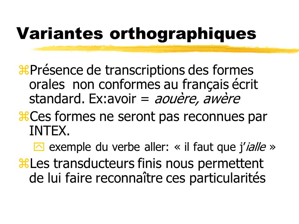 Variantes orthographiques