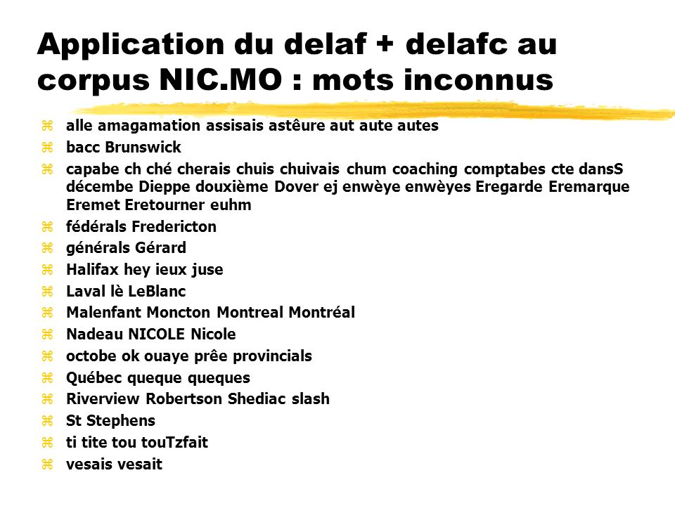 Application du delaf + delafc au corpus NIC.MO : mots inconnus