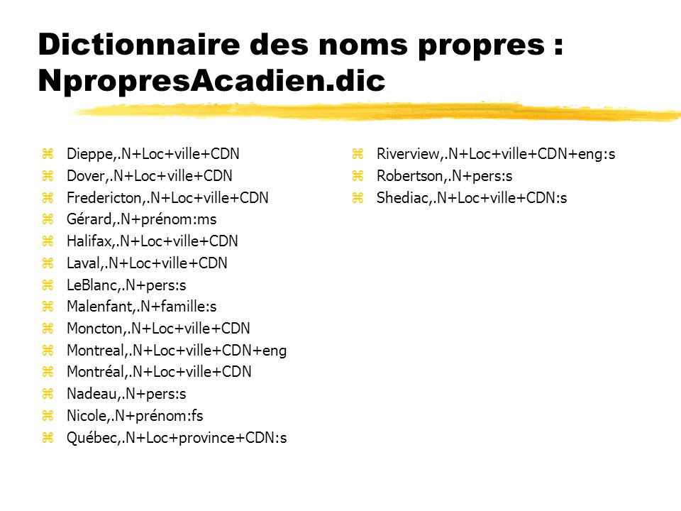 Dictionnaire des noms propres : NpropresAcadien.dic